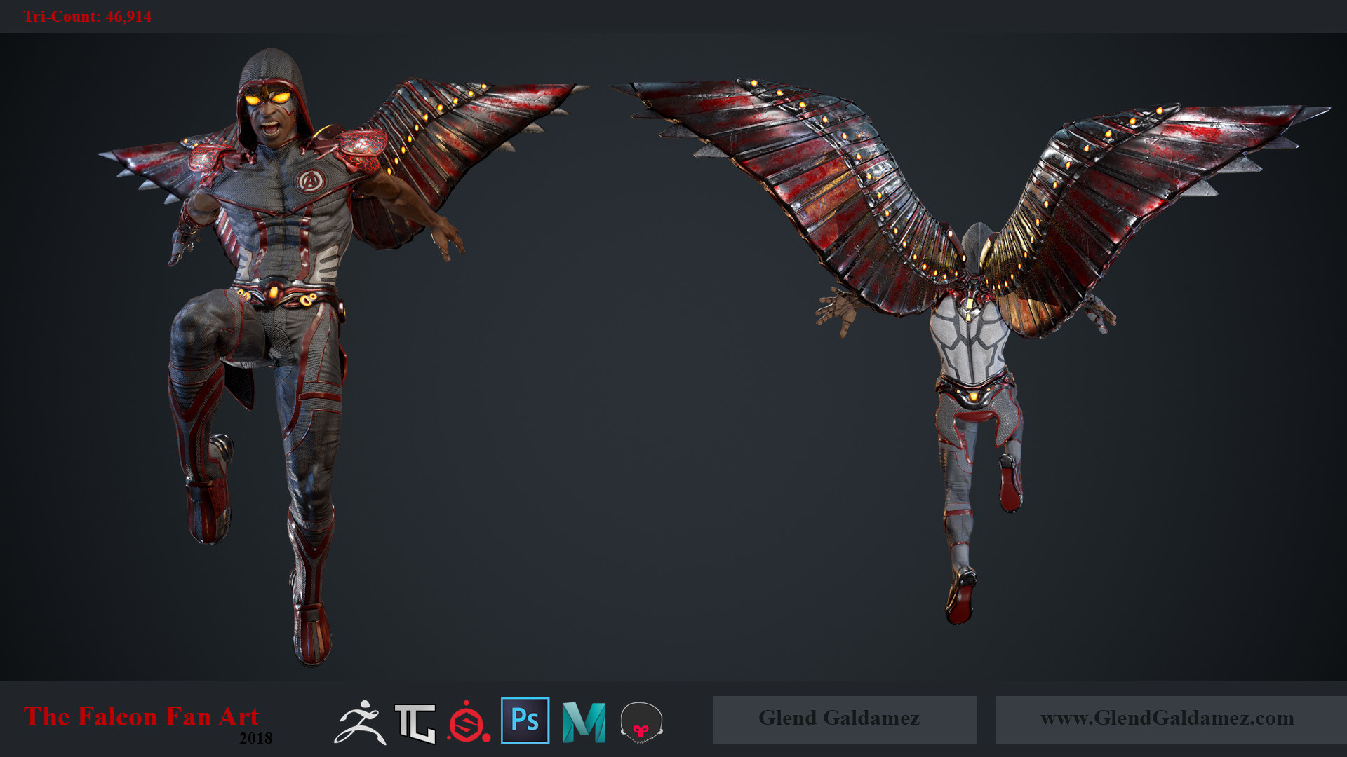 Glend Galdamez - The Falcon (Fan Art) - Game Ready Character Model