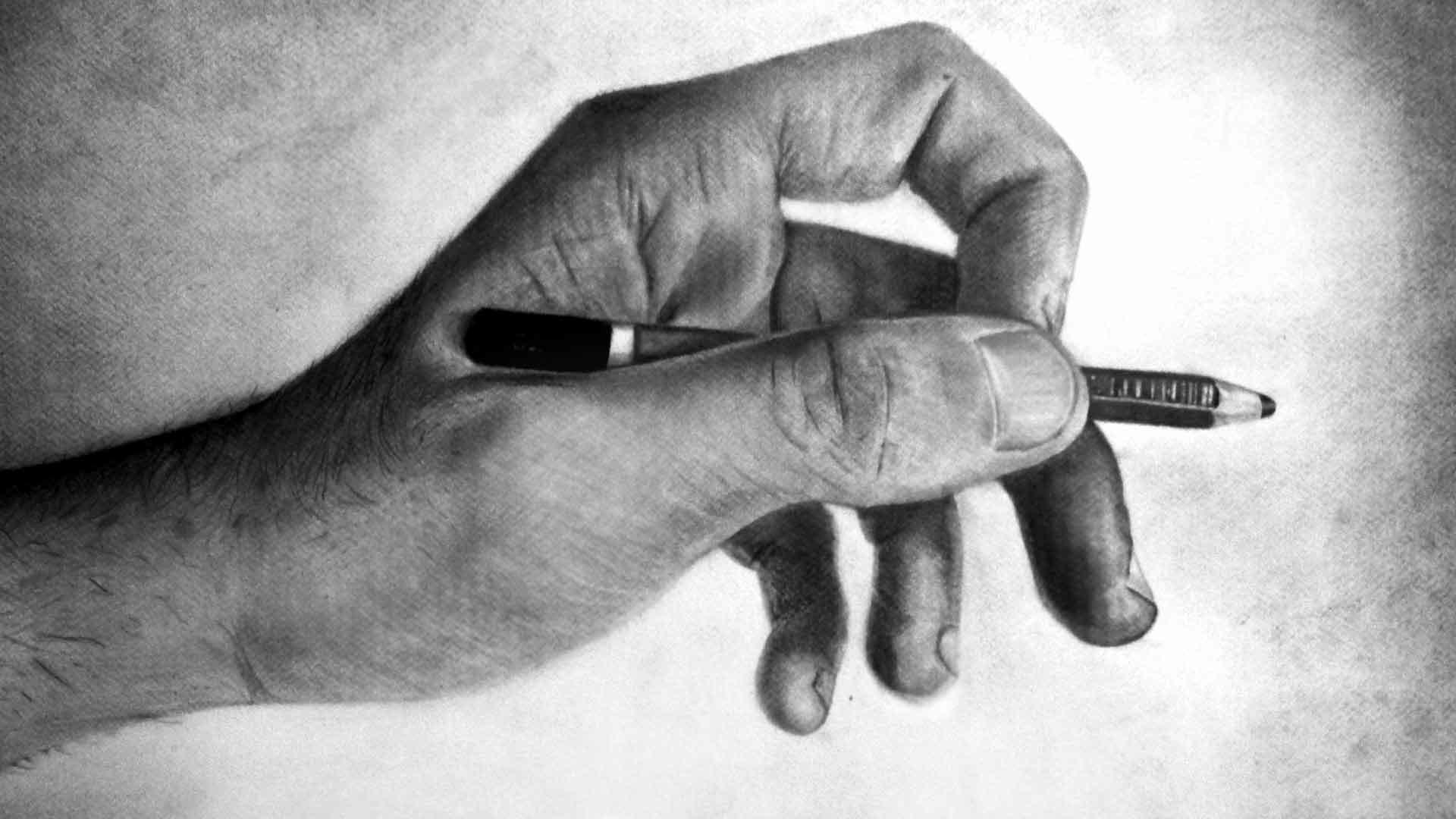 Artstation Pencil Left Hand Drawing Emilio Ferrari