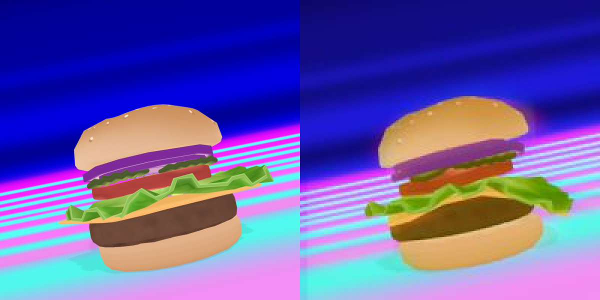A frame with rigid mesh and diffuse only (left); a frame with soft body physics and post processing (right)