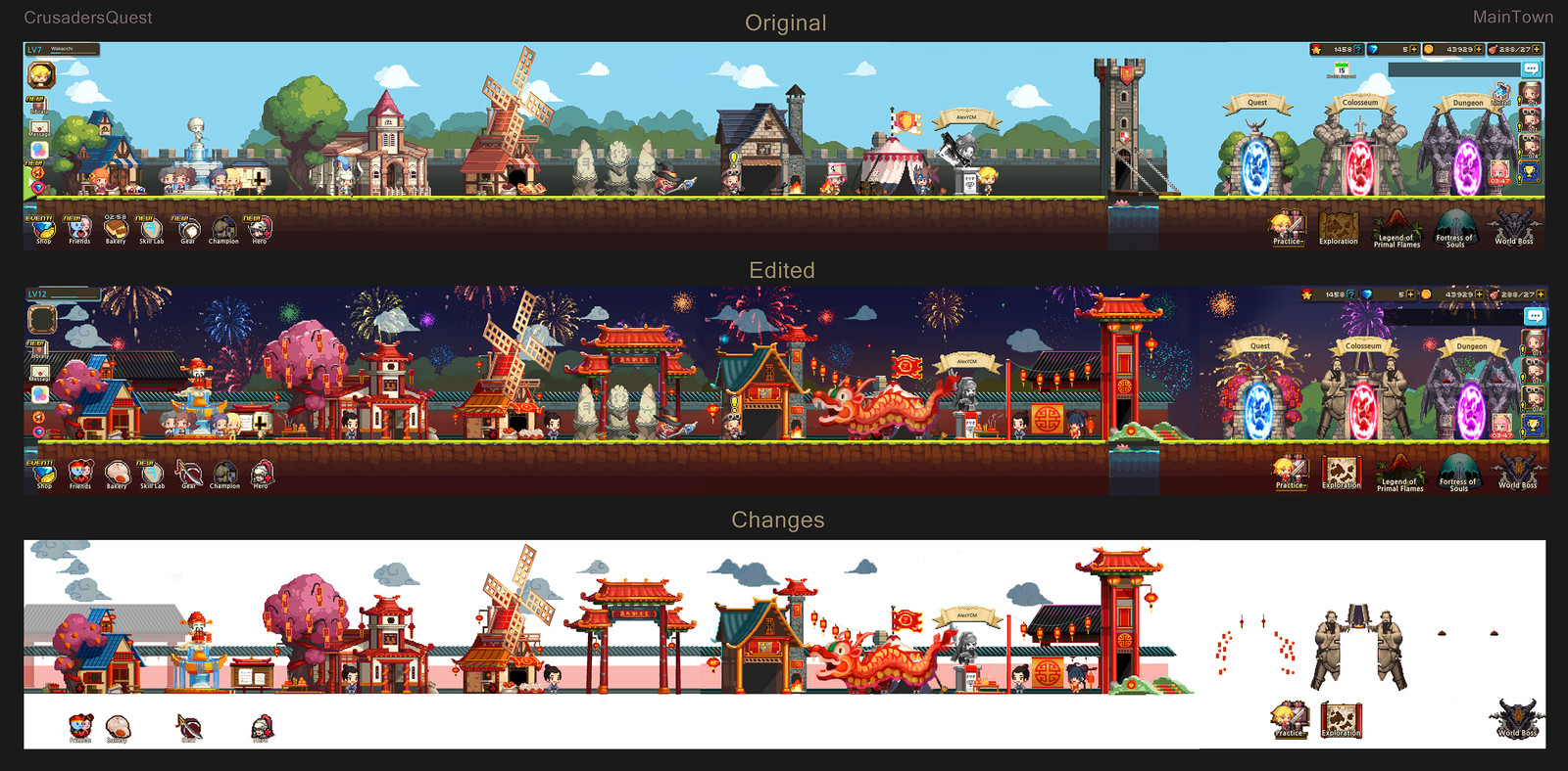 Original and Edited Assets: Town