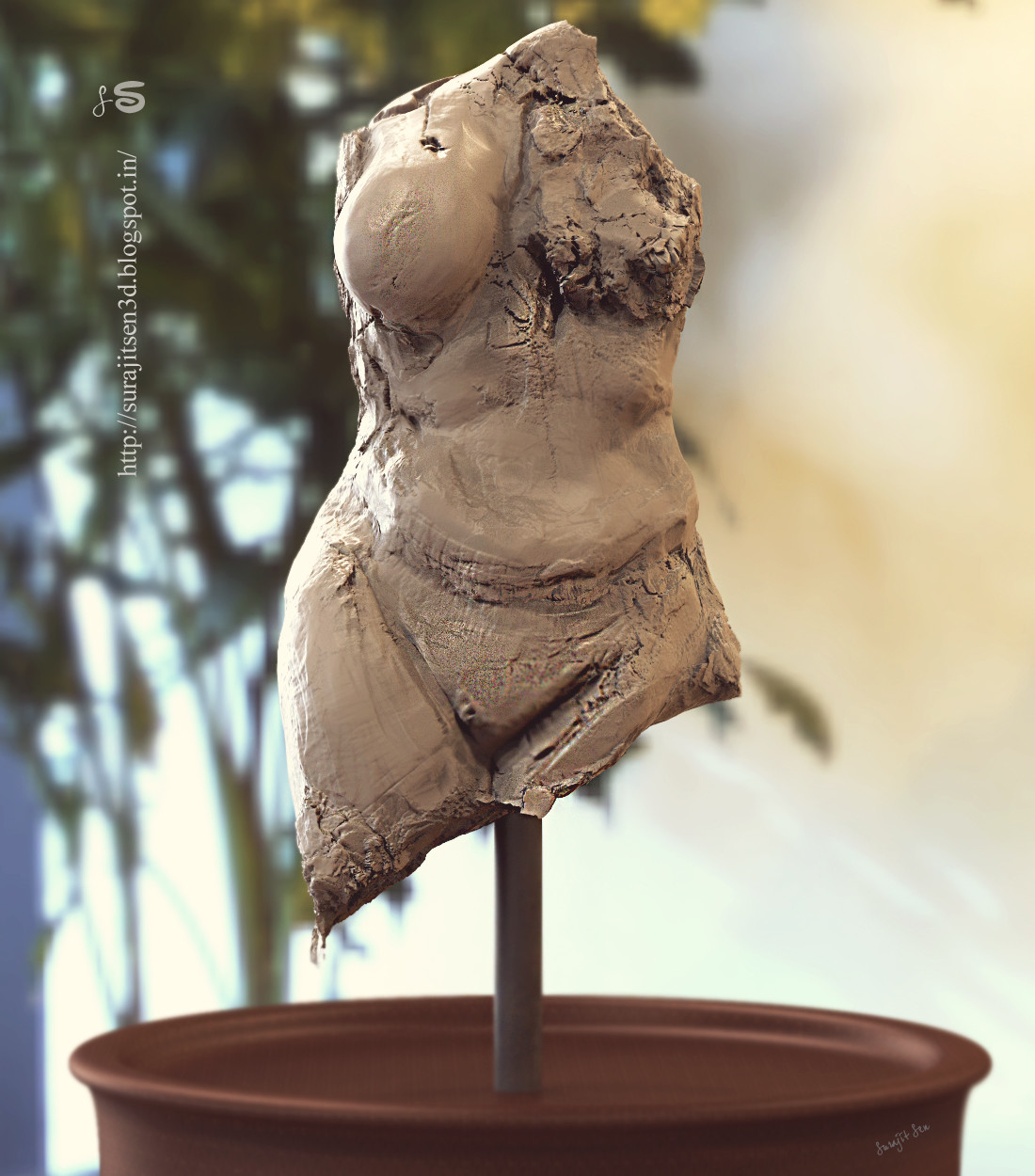 """#doodle #quicksculpt #study """"Broken Heart""""....one of my old concepts.  Tried to sculpt my thoughts."""