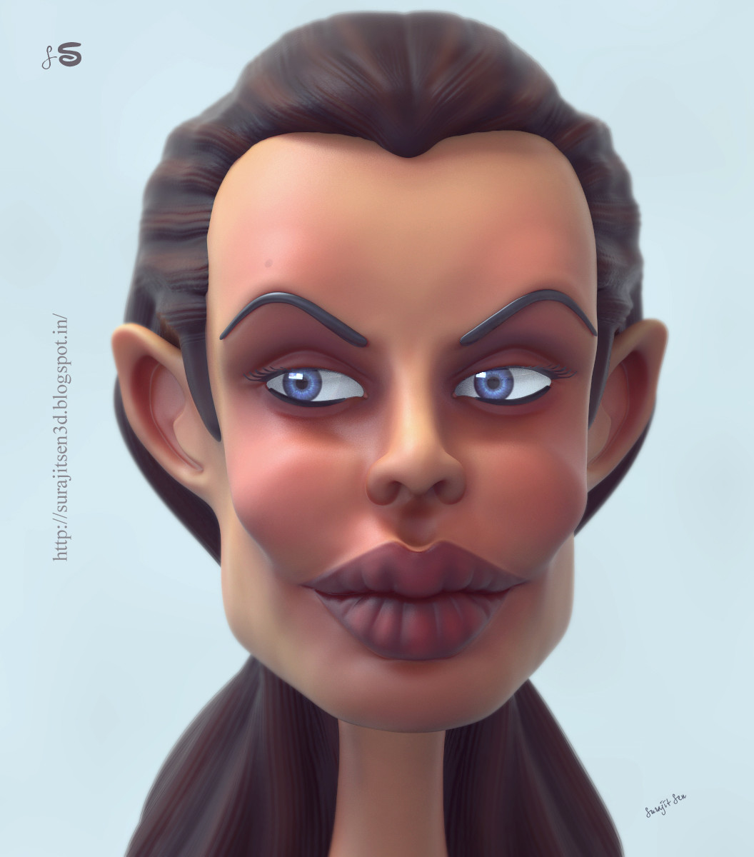 """One of my old caricature works...""""Angie""""...for my favourite actress. Wish to share."""