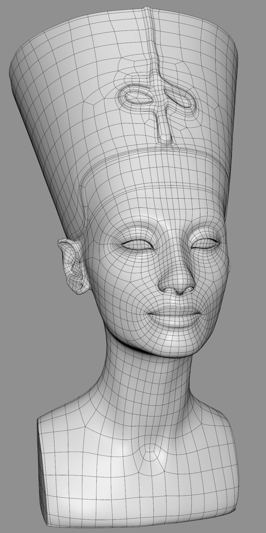 This is a retopo model I did on a scan of the original Nefertiti sculpture.