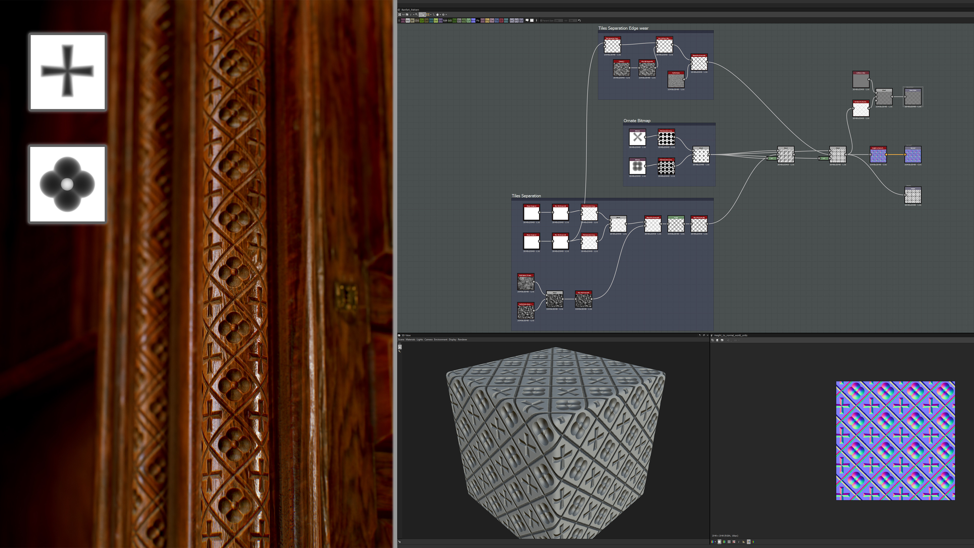 Really simple Tiles setup. The carving were made in max and baked down.