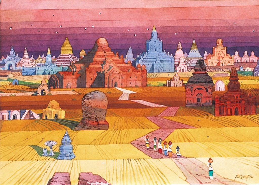 Snap shot of original painting by legendary Myanmar artist Paw Oo Thet ( POT )