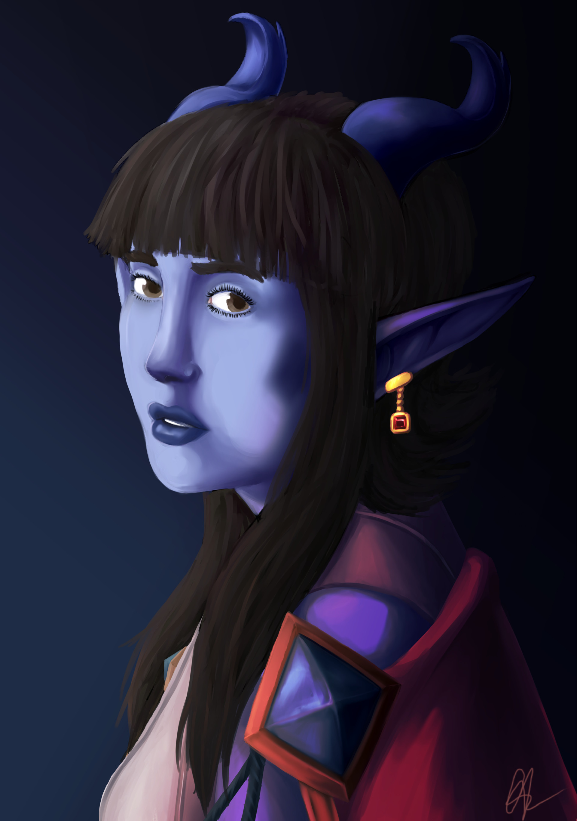 Artstation Tiefling With The Ruby Earring Repaint Charity Lauhon