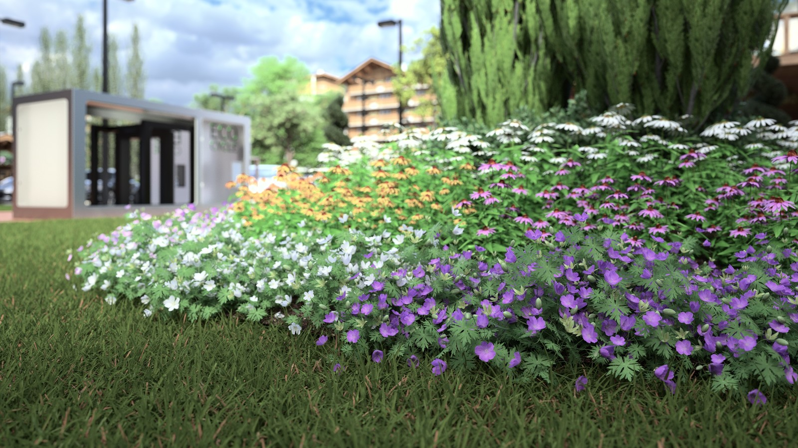 SketchUp 2018 + Thea Render V1.5 Ode to Vimage Visualisation Eco Cycle Alpine hotel v2018-Scene 92 PMC 1024 s-px 2840x2160 4h07 HDR241 FP2900ZG.crf C  HDR 241 by HDRI-SKIES: http://hdri-skies.com/shop/hdri-sky-241/