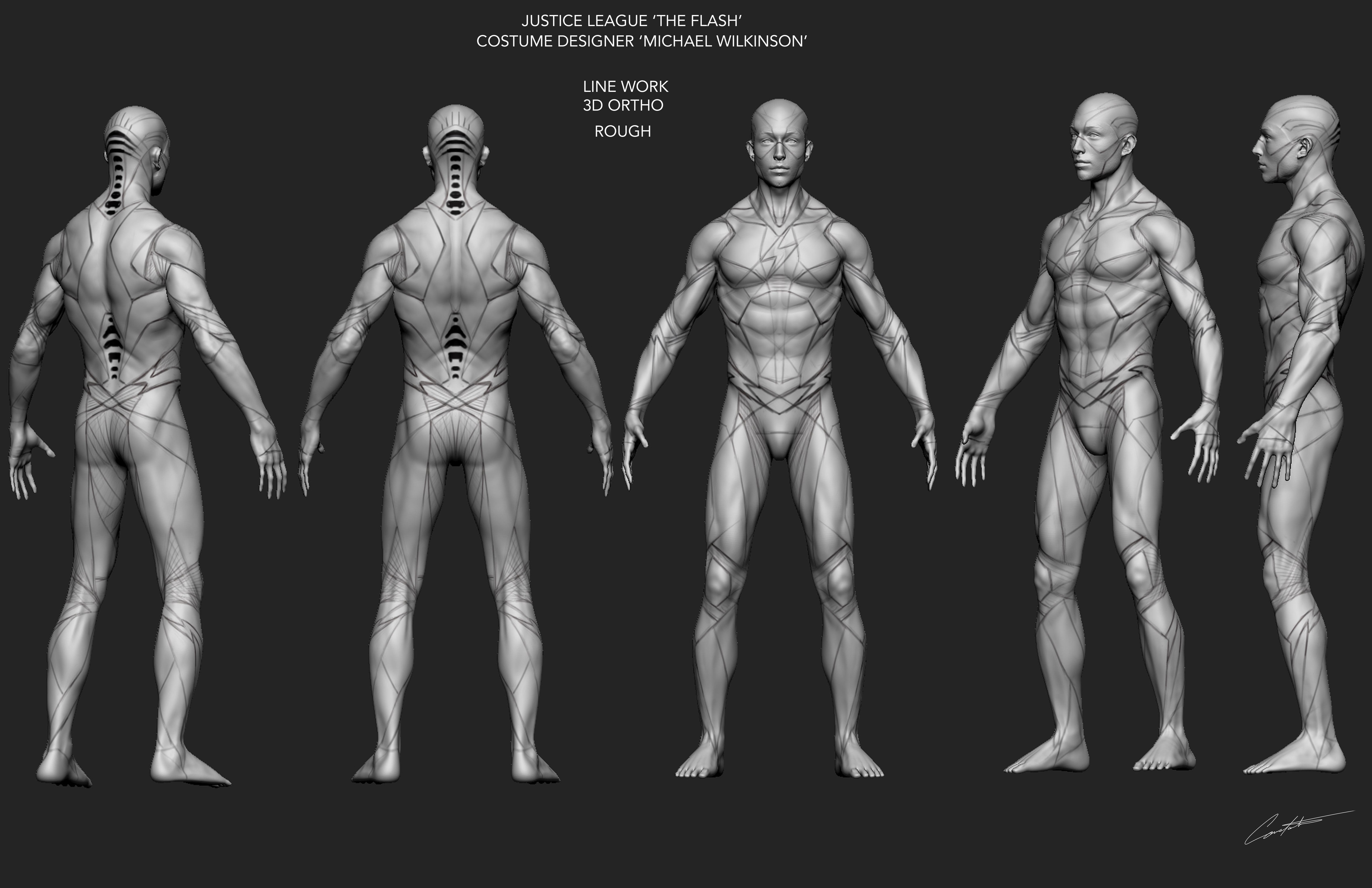 JUSTICE LEAGUE 'THE FLASH' 3D LINE WORK ROUGH ORTHO