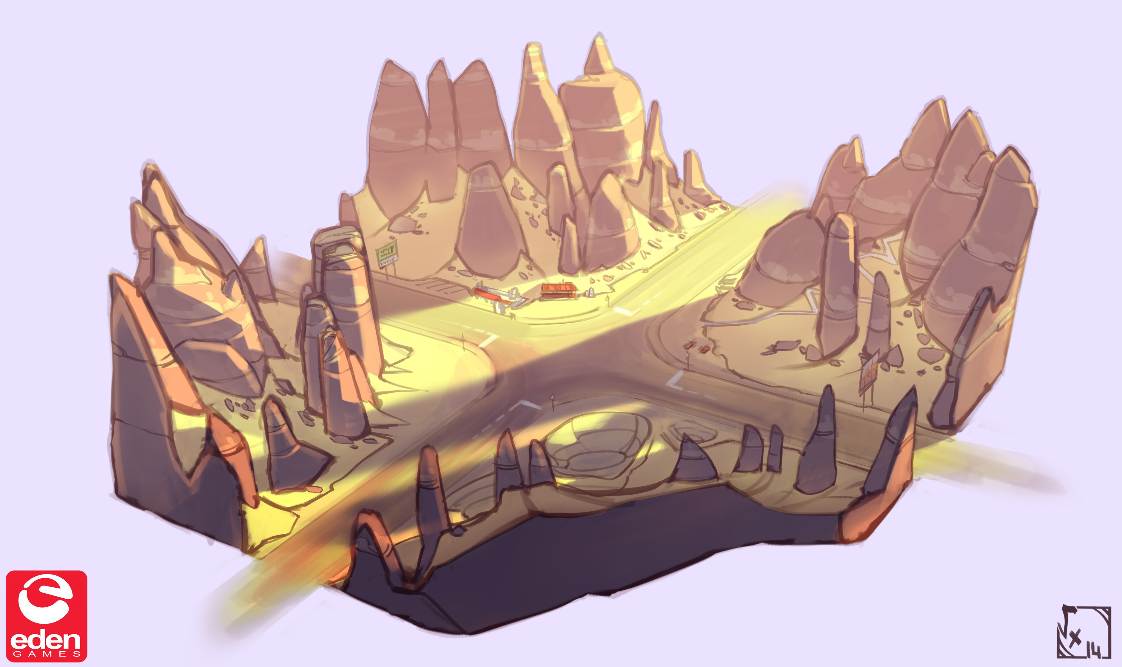 CrossRoads ConceptArt, made in ordeer to help me determinate what kind of things I'll add, as it was a mostly natural place