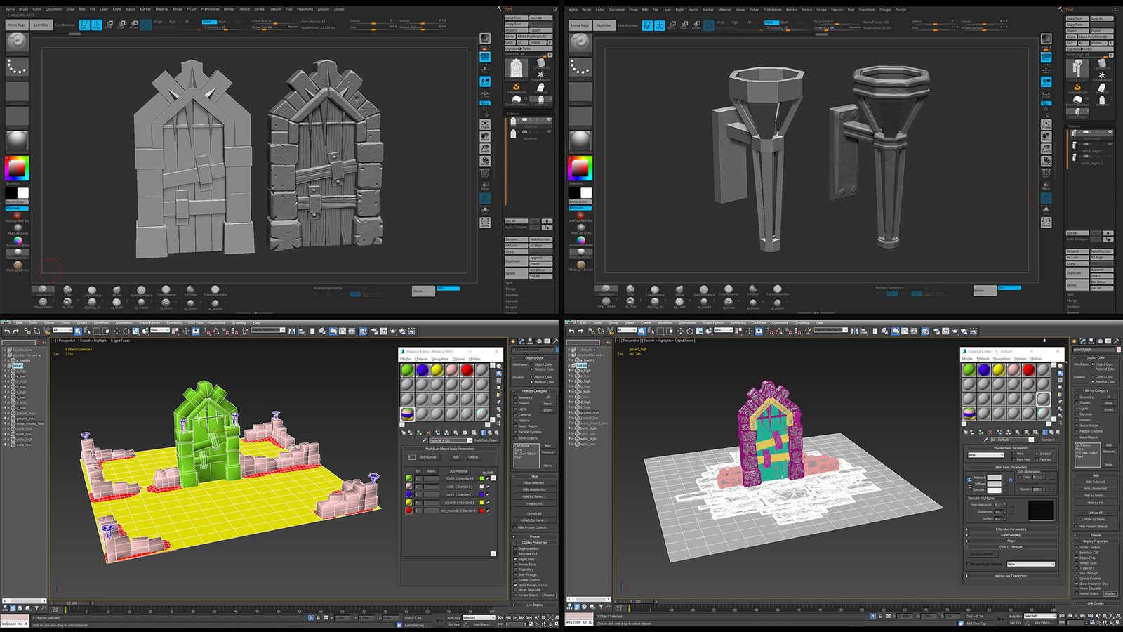 Zbrush sculpts and 3dsMax layout for scene export to Substance Painter.