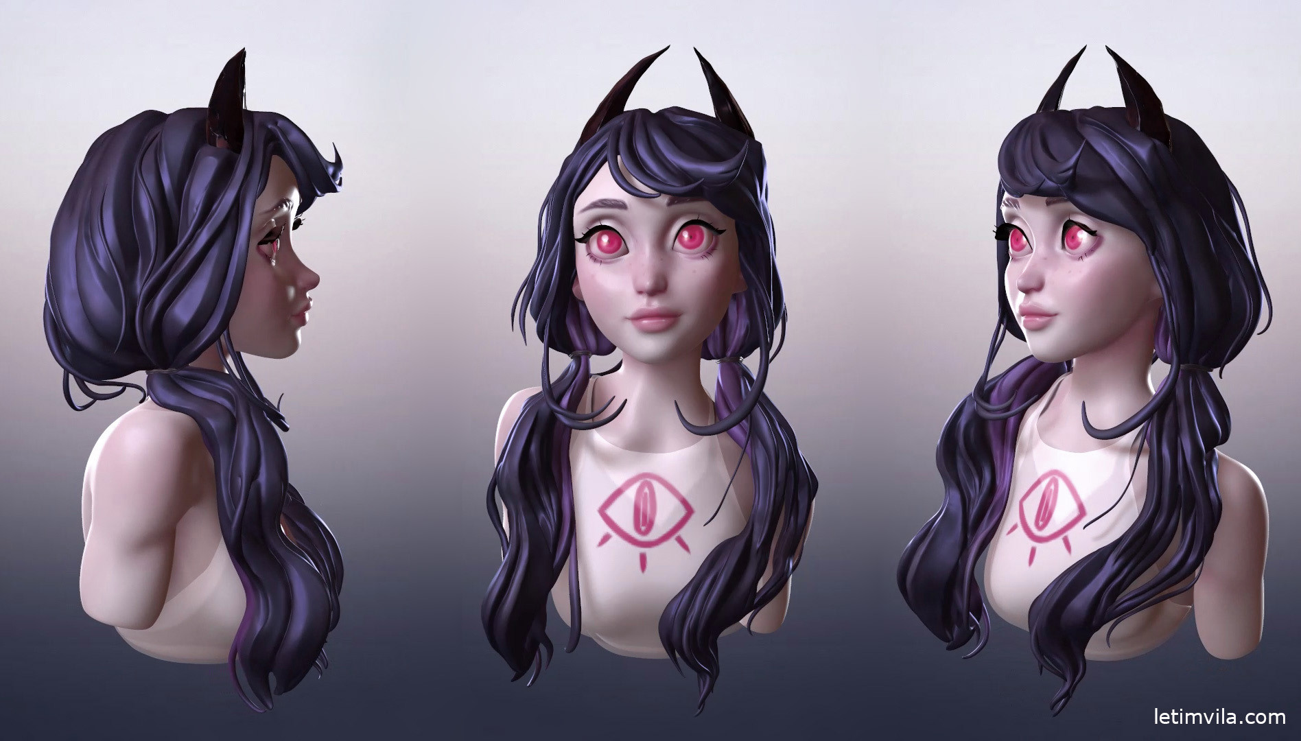 Demon girl, marmoset render views