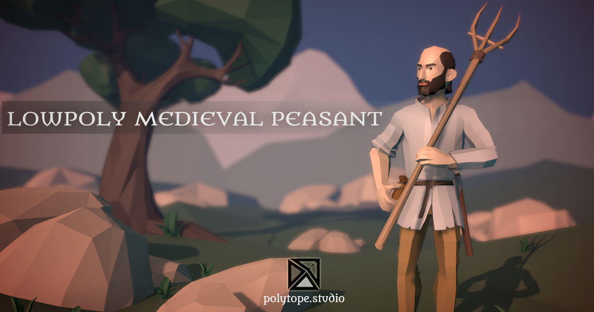 Polytope studio pt medieval lowpoly peasant x