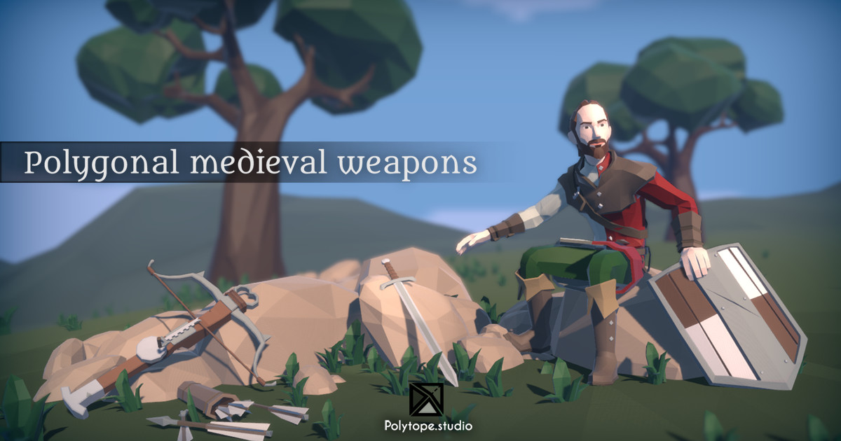 Polytope studio pt medieval lowpoly weapons diorama x
