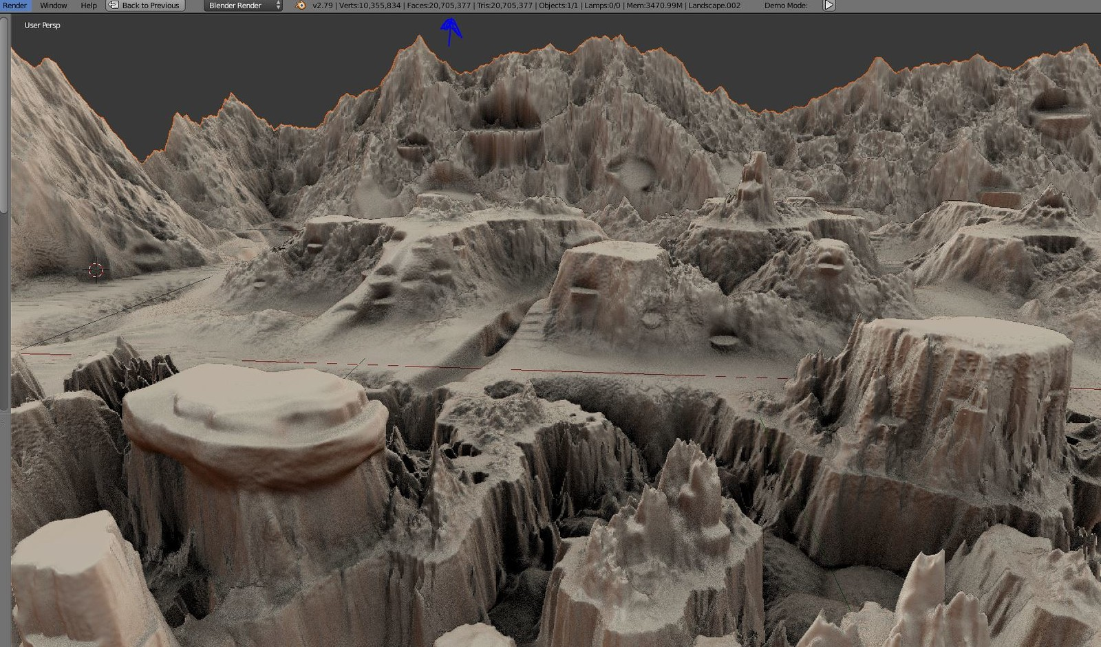 The sculpted high-poly terrain with 20,705,377 Palygones.