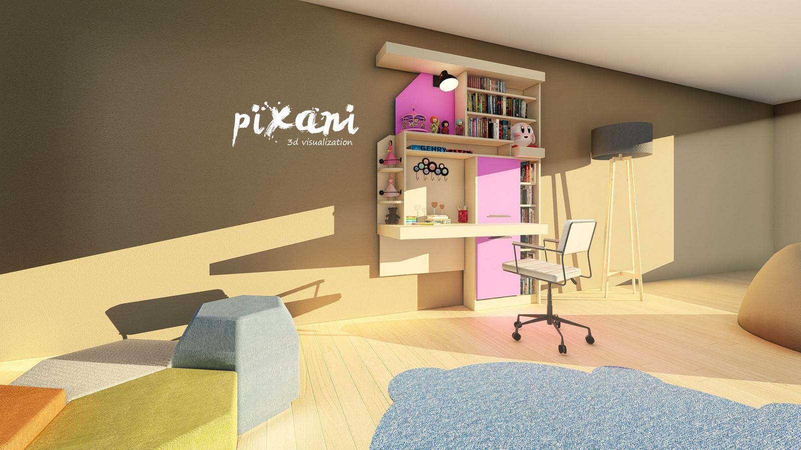 Sky & Cotton Candy Children Room || Gökyüzü & Pamuk Şeker Çocuk Odası   Furniture Design COTTON CANDY MODEL 3D modeling + Render visualization Project   Designed by Serdar Çakmak #pixani