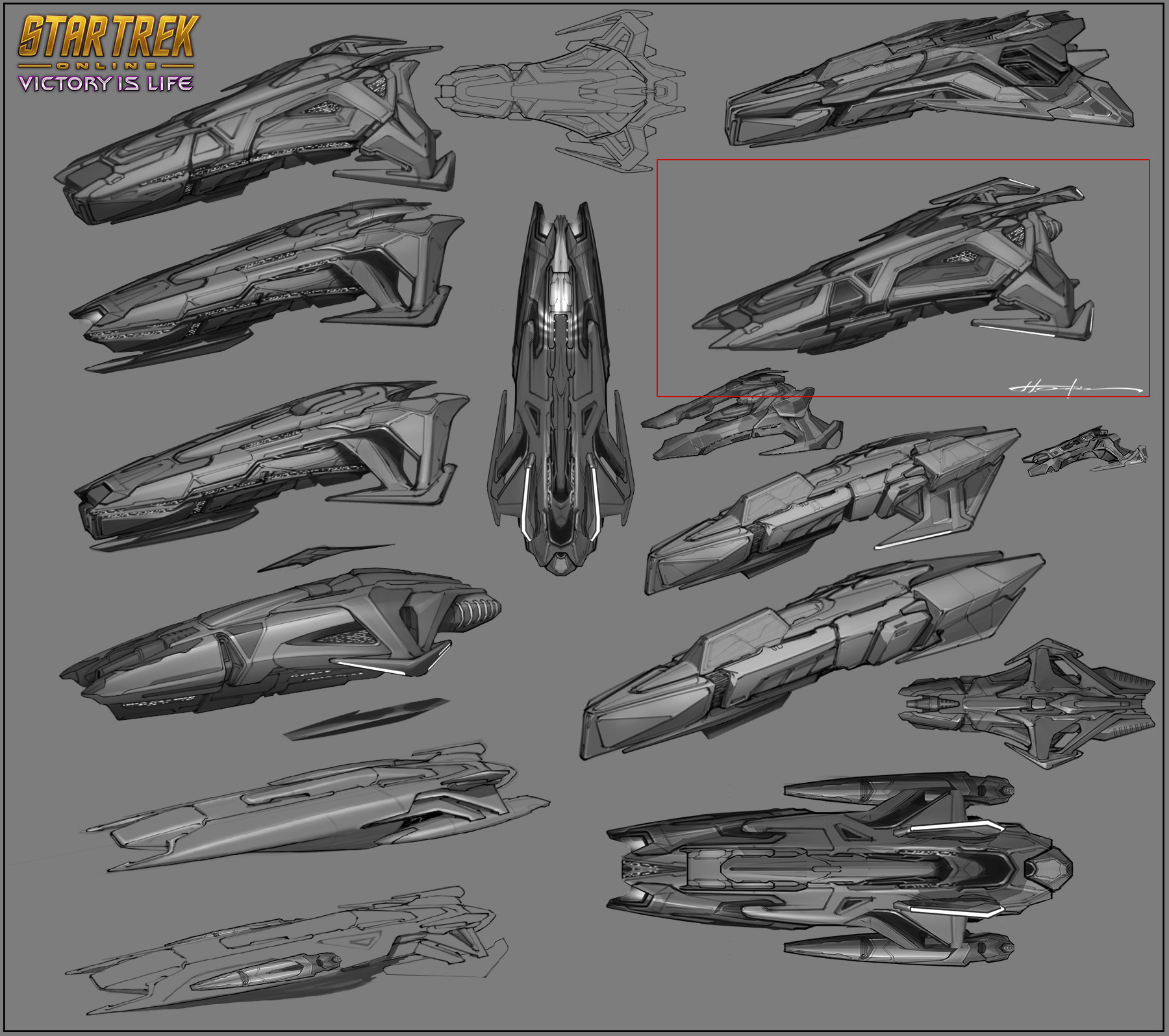 Here you can see some early style variations. I try to keep the sketches angles similar so I can exchange parts between them. Weapons, armors and other ships can be kit-bashed from here thus keeping the style consistent across the board.