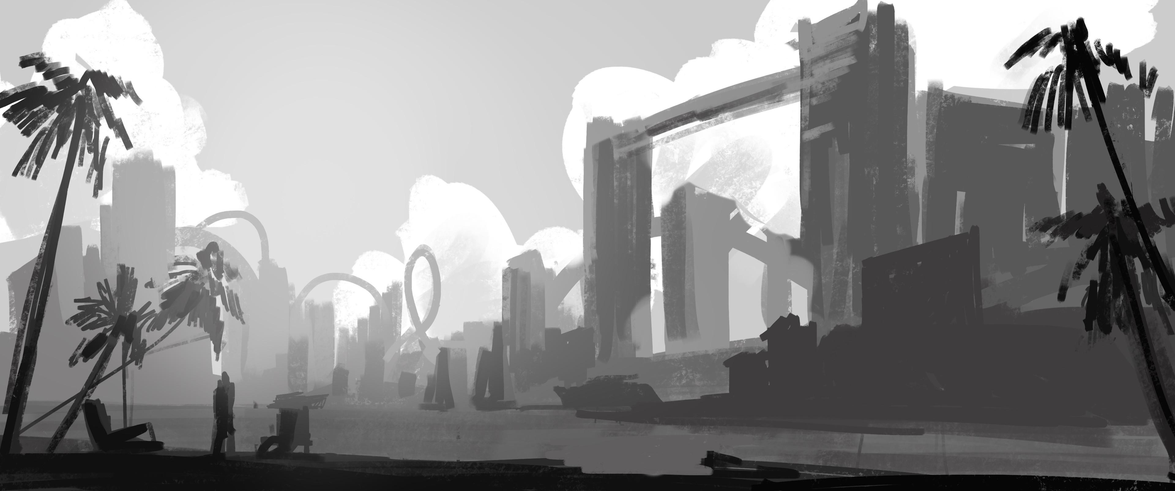 Vacation Island - Grey sketch