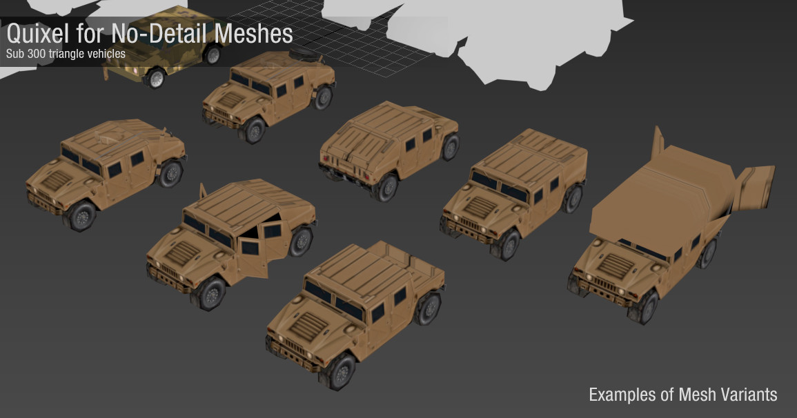 The memory footprint of these tiny meshes was insignificant compared to their equivalent in texture memory.  So we got variety by creating many mesh variants (which for non-military vehicles includes vertex color data for tinting).