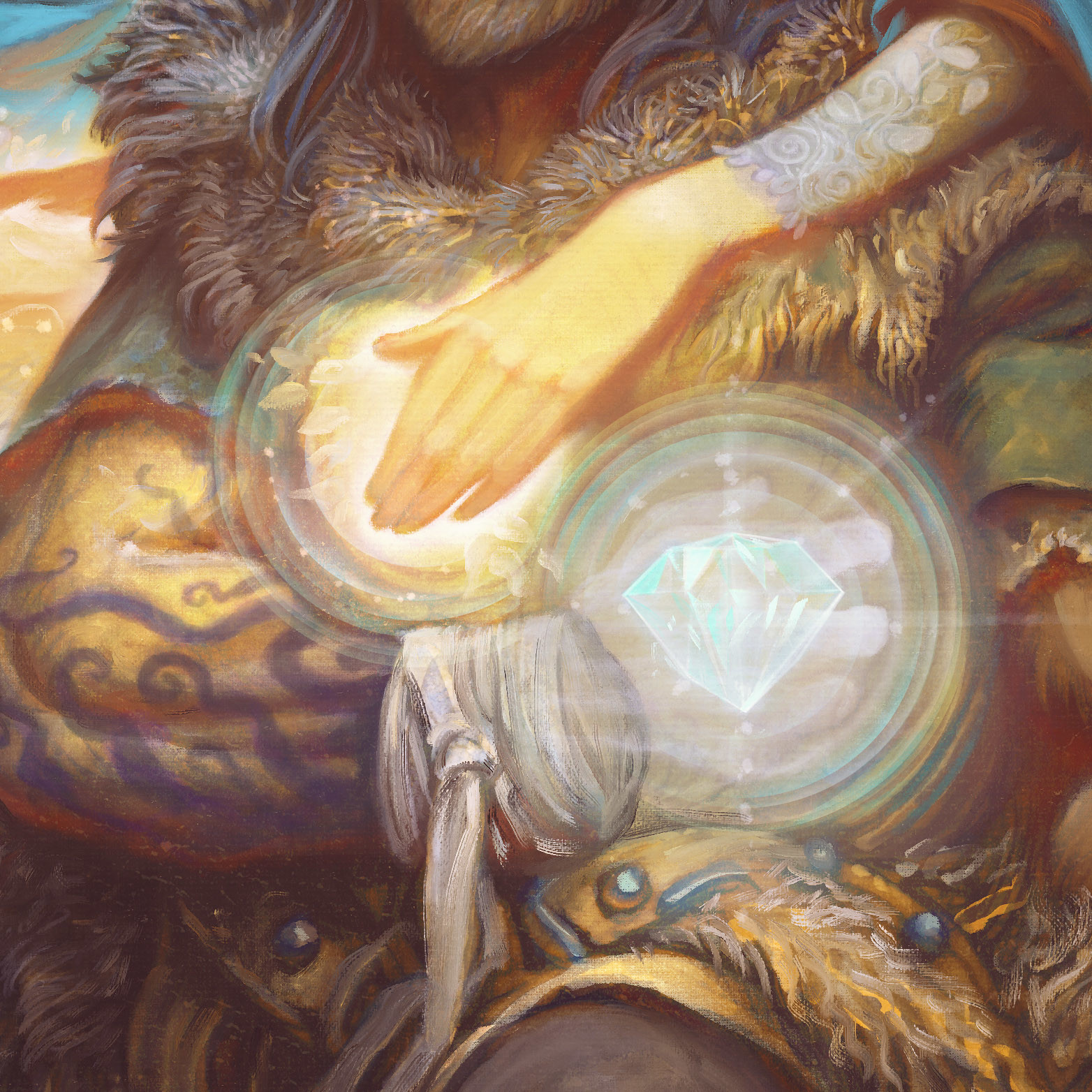 Detail of Beren's poisoned arm and ghost hand still clutching the Silmaril.