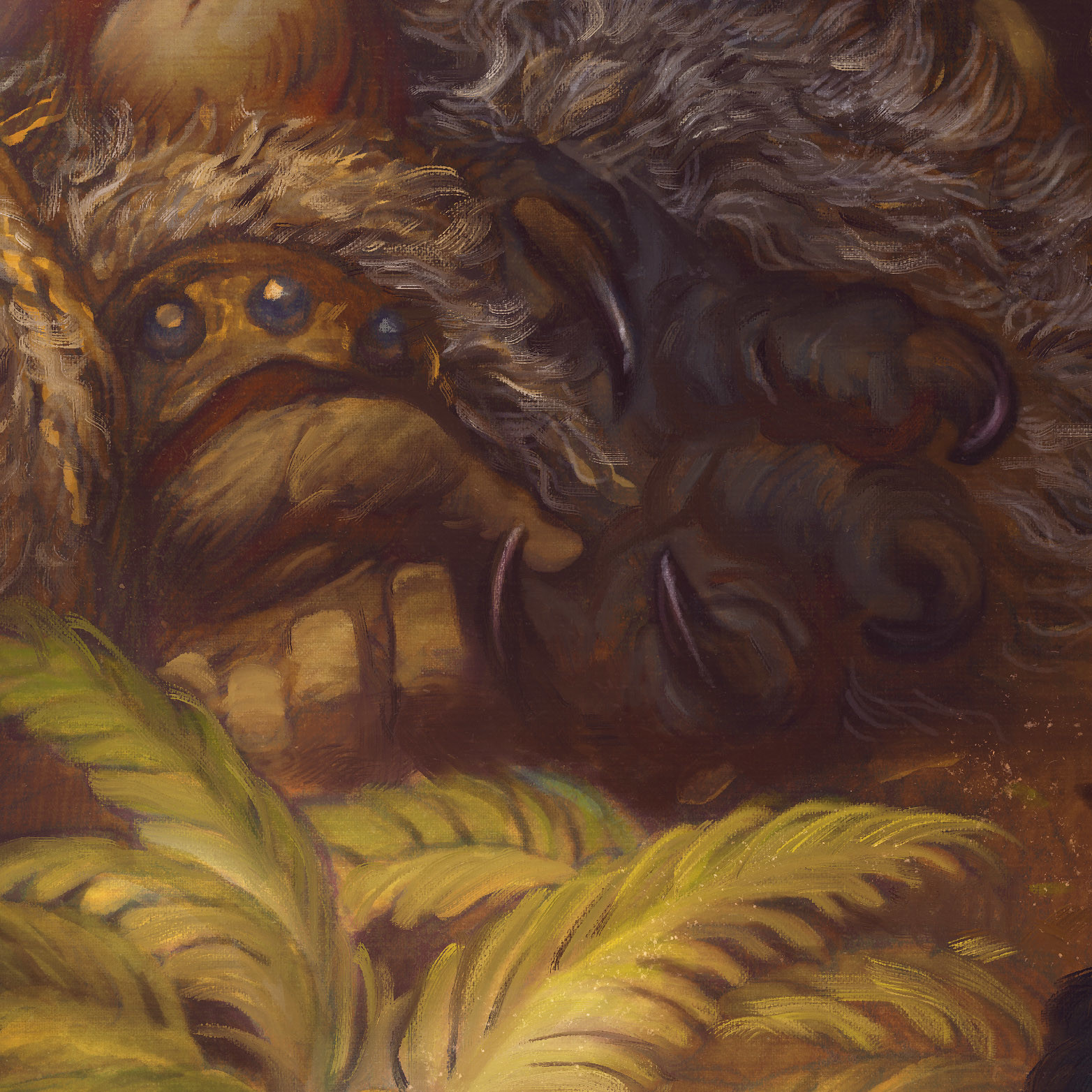 Detail of Beren's cloak, the wolf-hame of Draugluin.