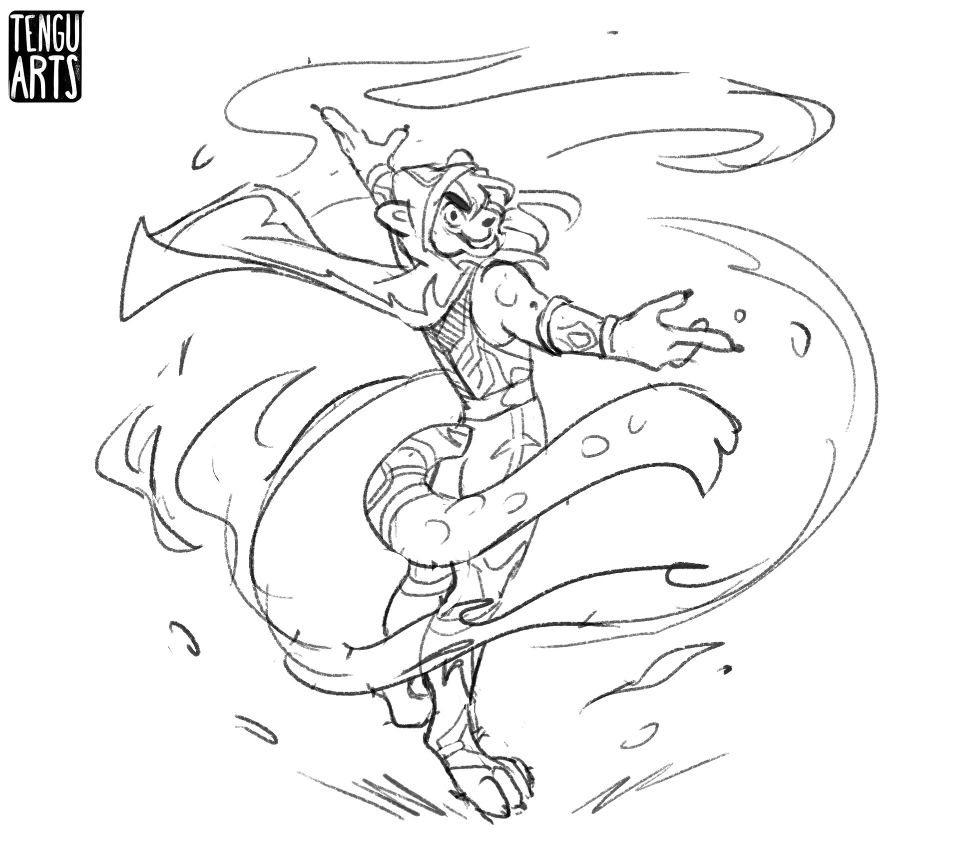 Sketch: I tried my best to do a dynamic pose with this one.