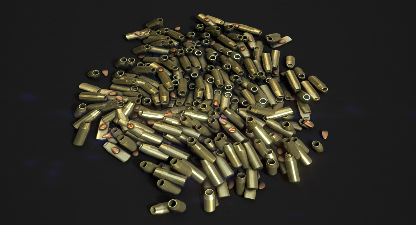 Bullet casings. Later I'll update these with a more accurate profile. The scattering with the shape splatter works like a charm, although there are some intersections in there which i didn't bother too much with.