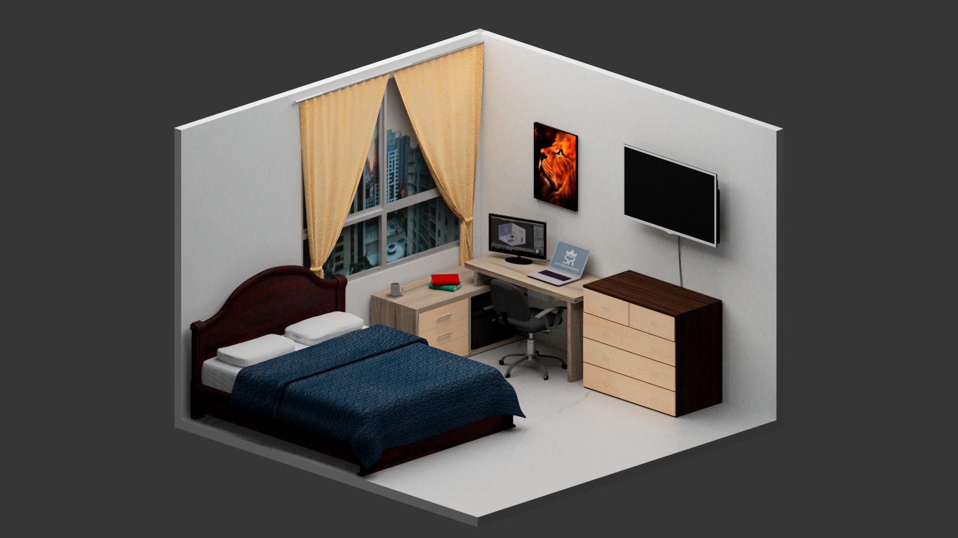 Ricardo Duque 3d Isometric Bedroom