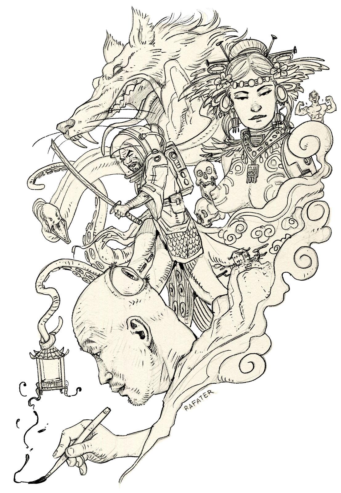 Rafael teruel firestarter kim yung gi rafater ink drawing