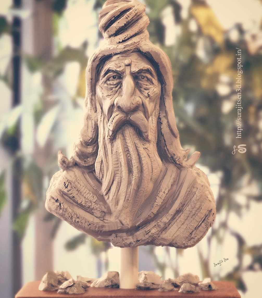 My quick sculpt study. .. ...tried to make a form of a Hindu Saint . Played with clay and tools.  Wish to share.