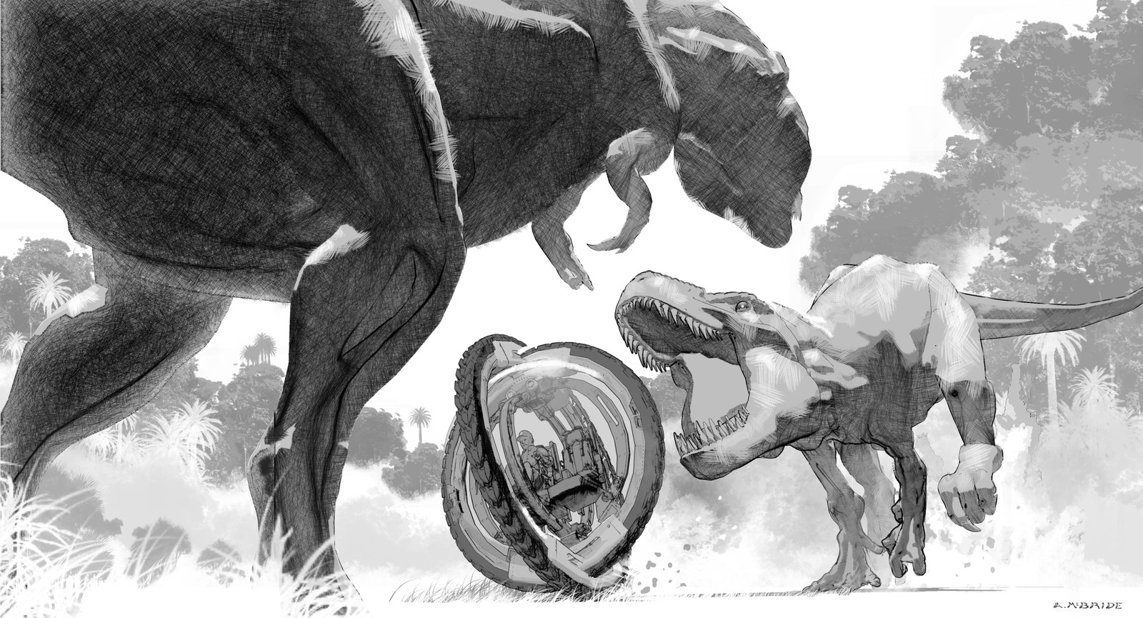 Jurassic World. Early rough sketch of the Diabolous Rex ( D.Rex ) squaring off against a T.Rex over a park Gyrosphere.
