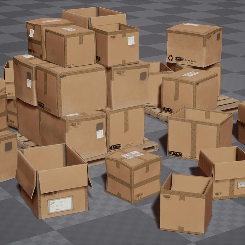Cardboard Boxes Set