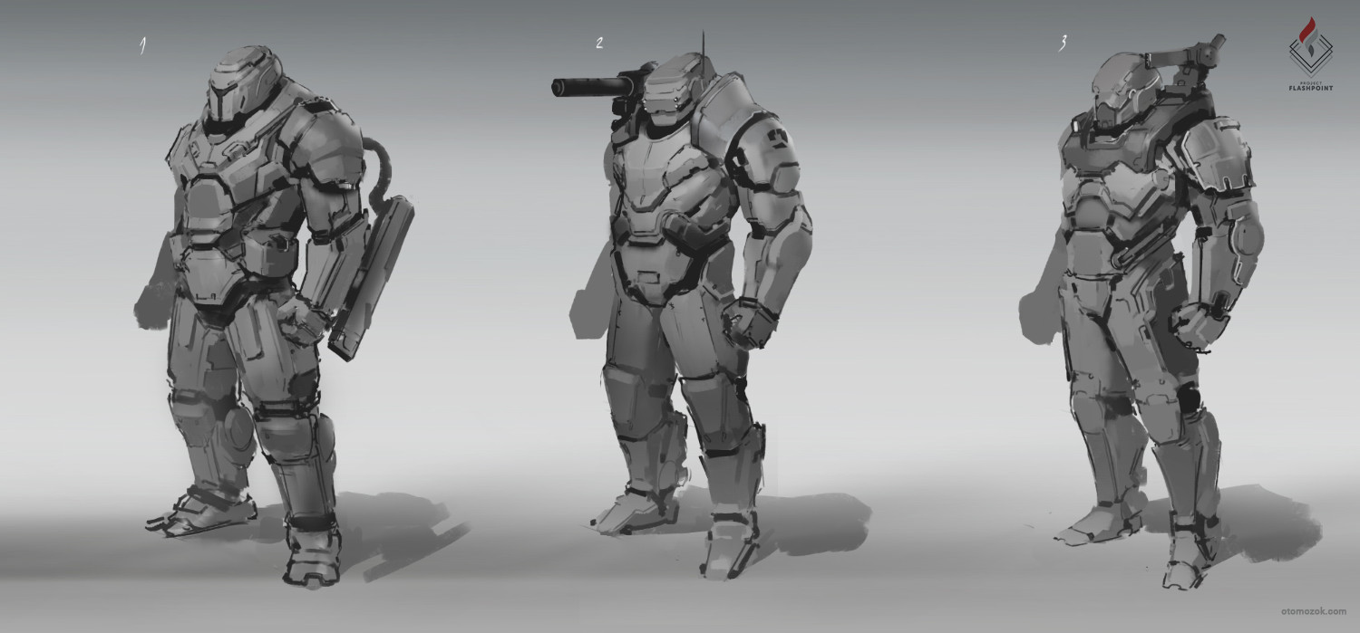 Arthur gurin power armor sketches