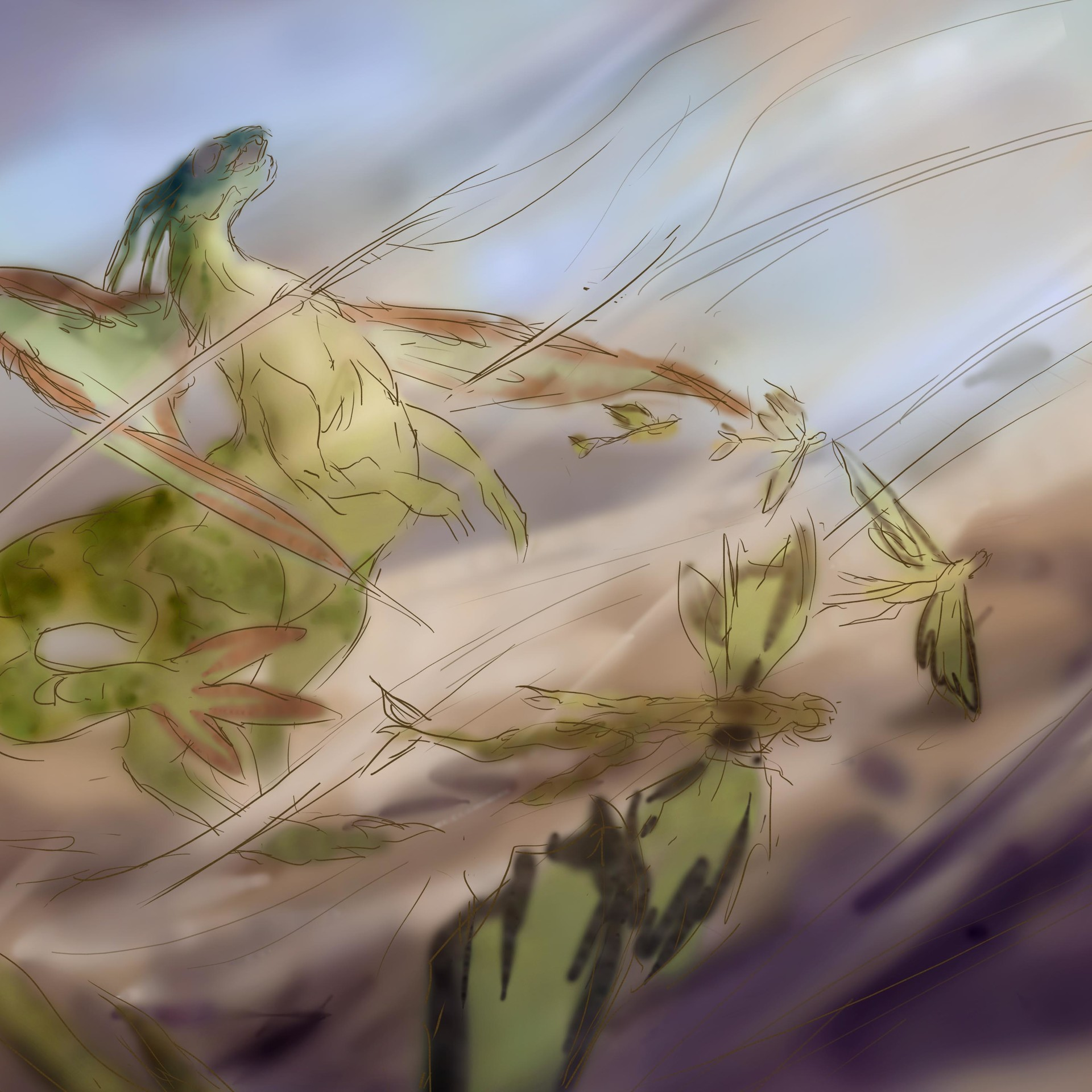 Sketch 3 - Flygon unleashing a sandstorm, dispatching a group of Vibrava.