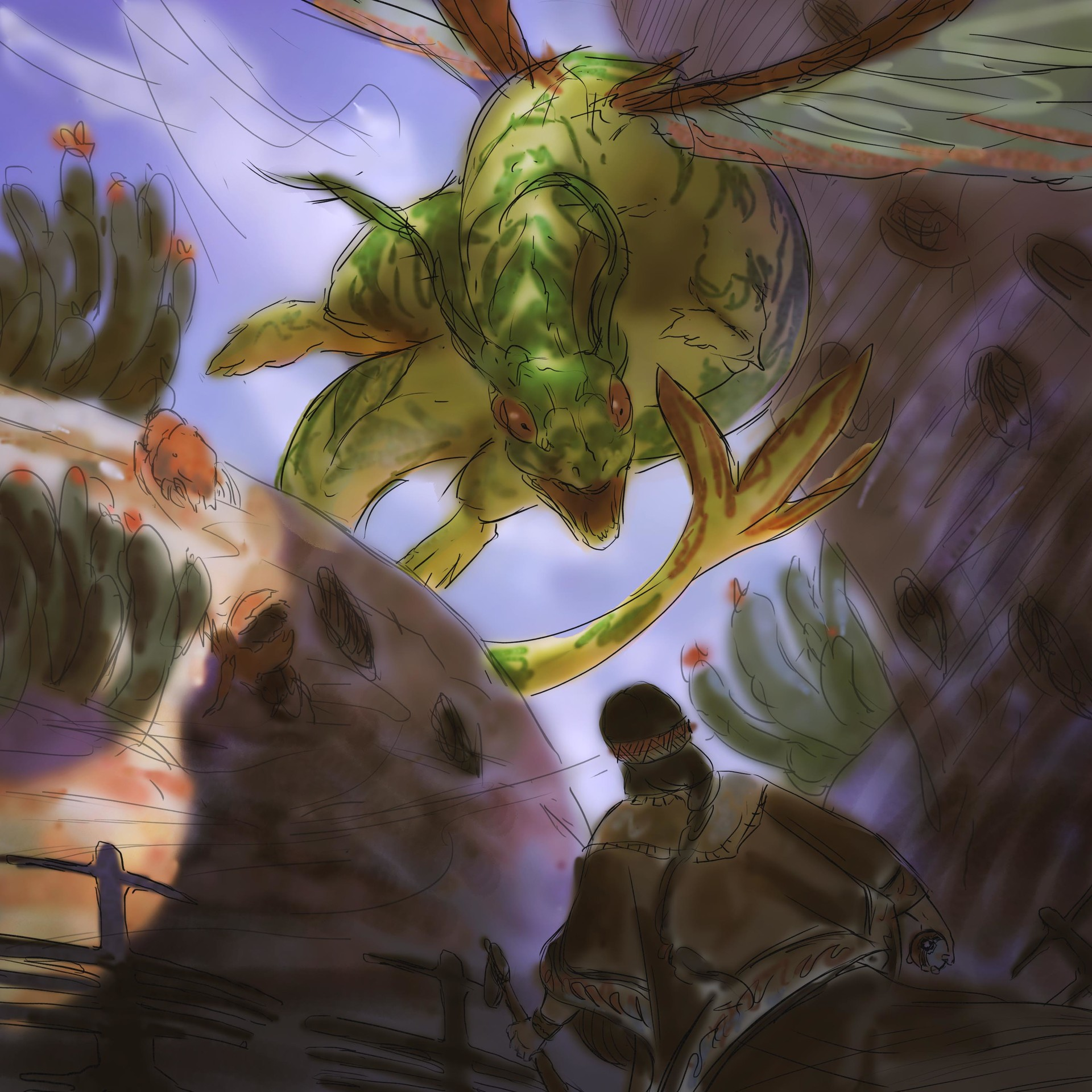 Sketch 4 - Flygon in its nest, being approached by a Diaguita-inspired warrior.