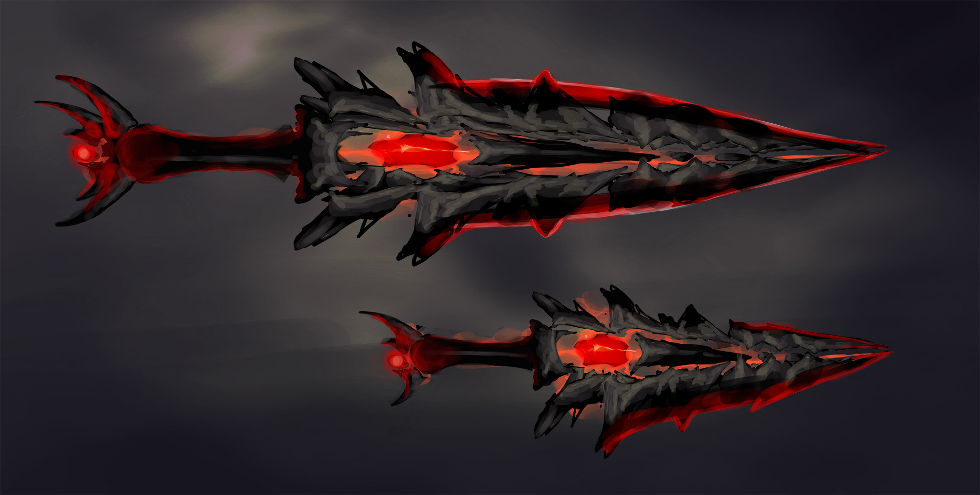 Initial sketch for the blood stone swords