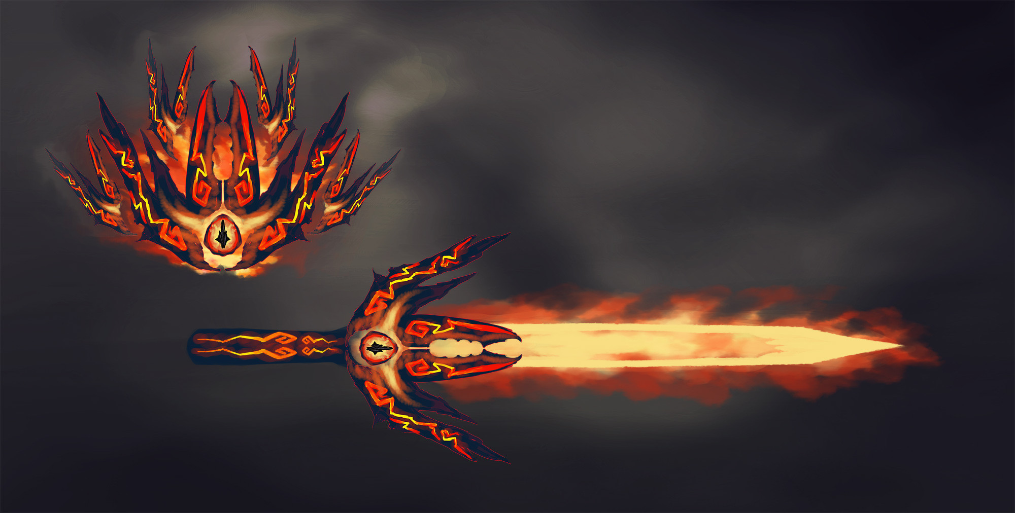 Initial sketch for the fire great shield / sword