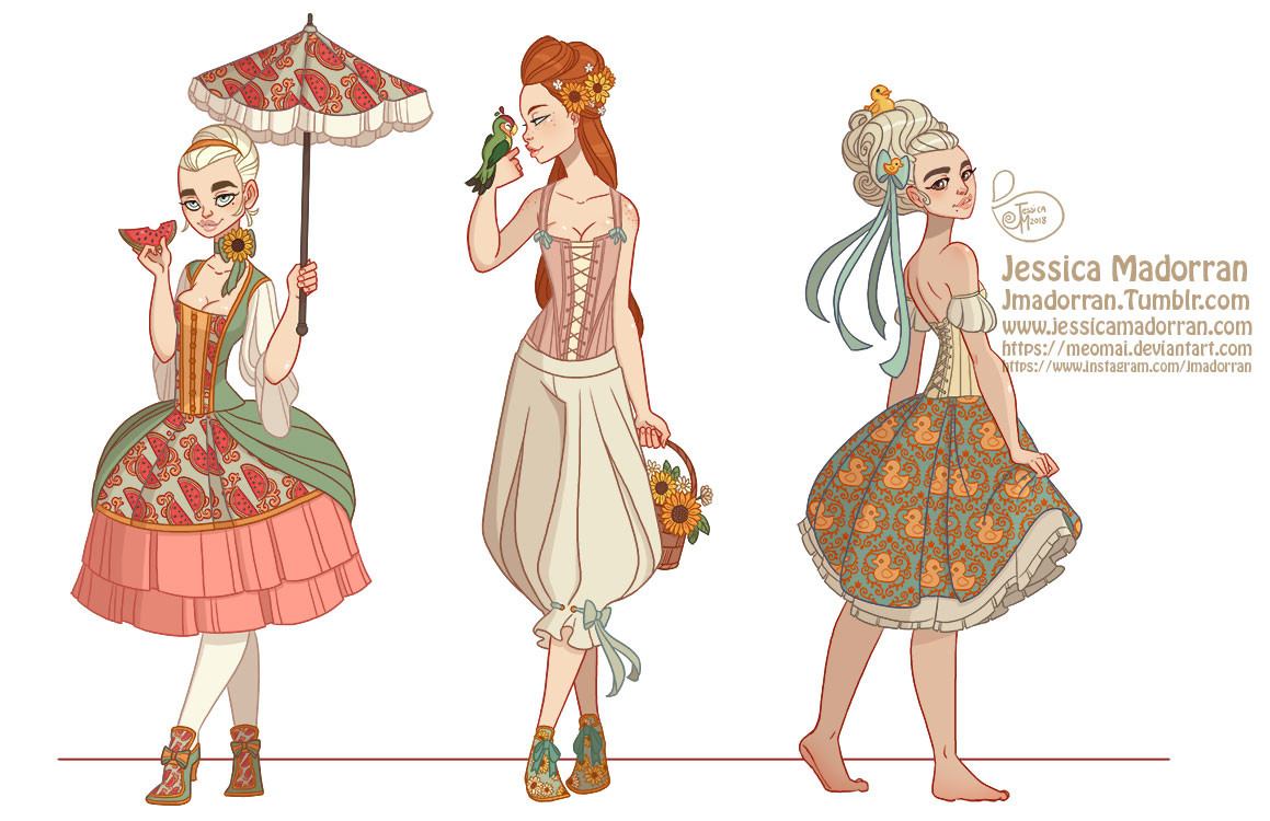 Character Design - Baroque Aristocracy Summer Looks