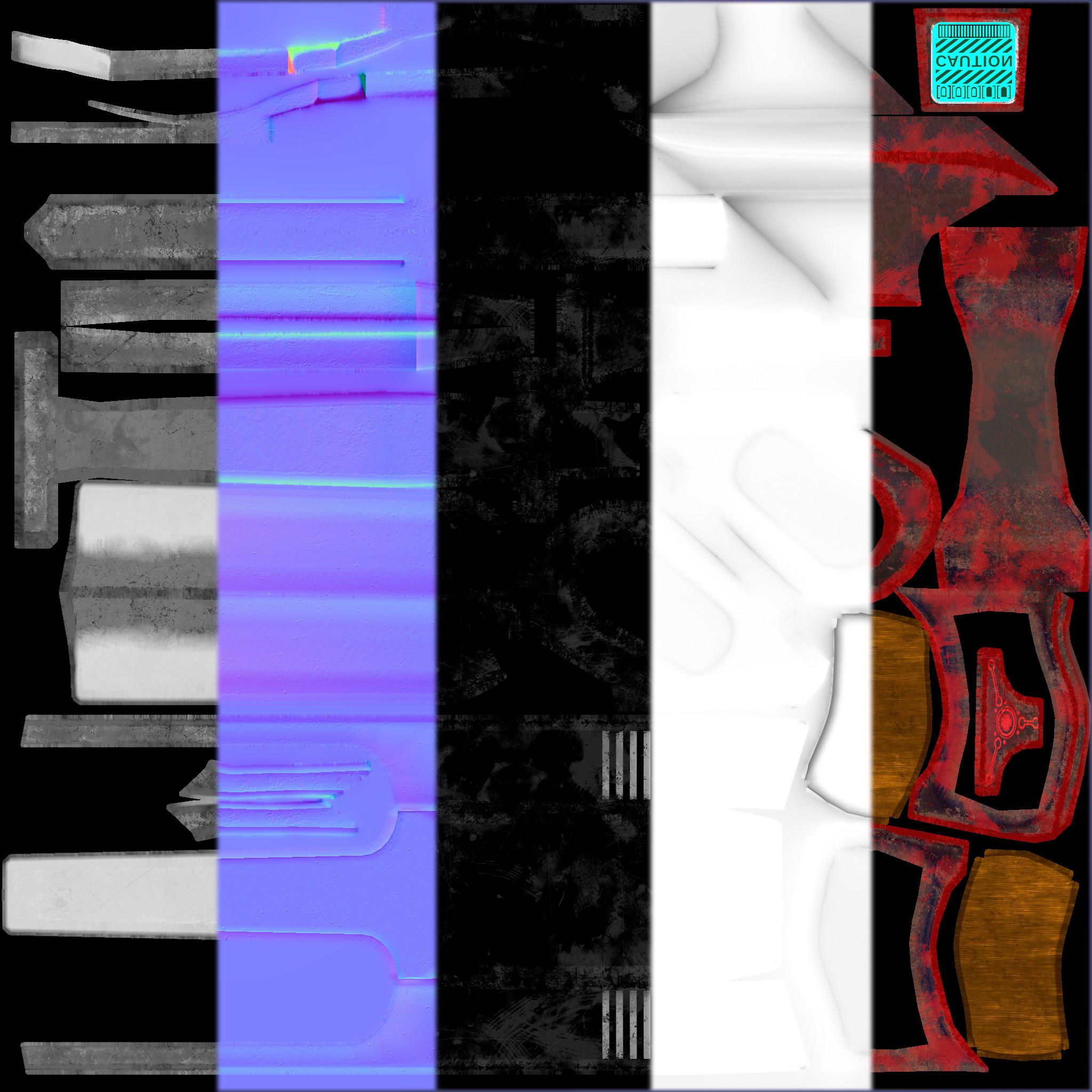 2K PBR Texture W/ Emissive overlay on diffuse.