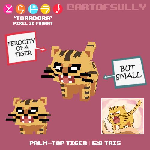 Palm-Top Tiger ('Toradora' lowpoly pixel fanart)