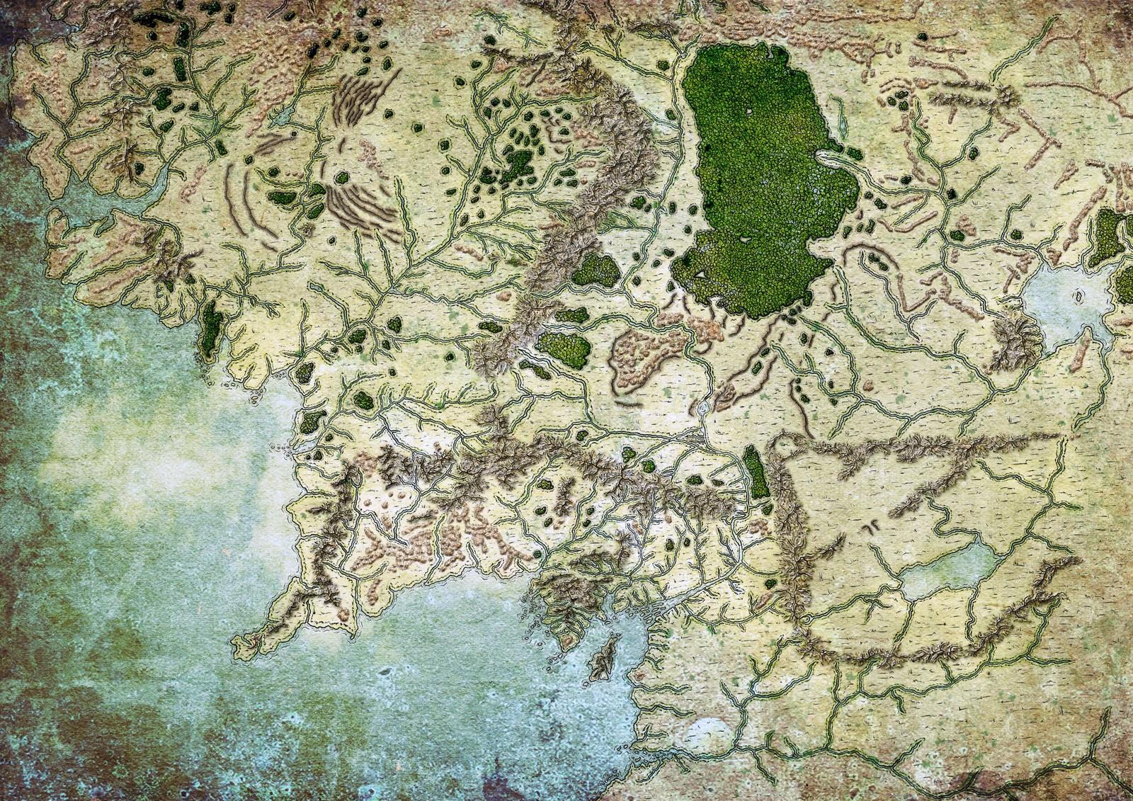 A fan map of middle earth of Tolkien