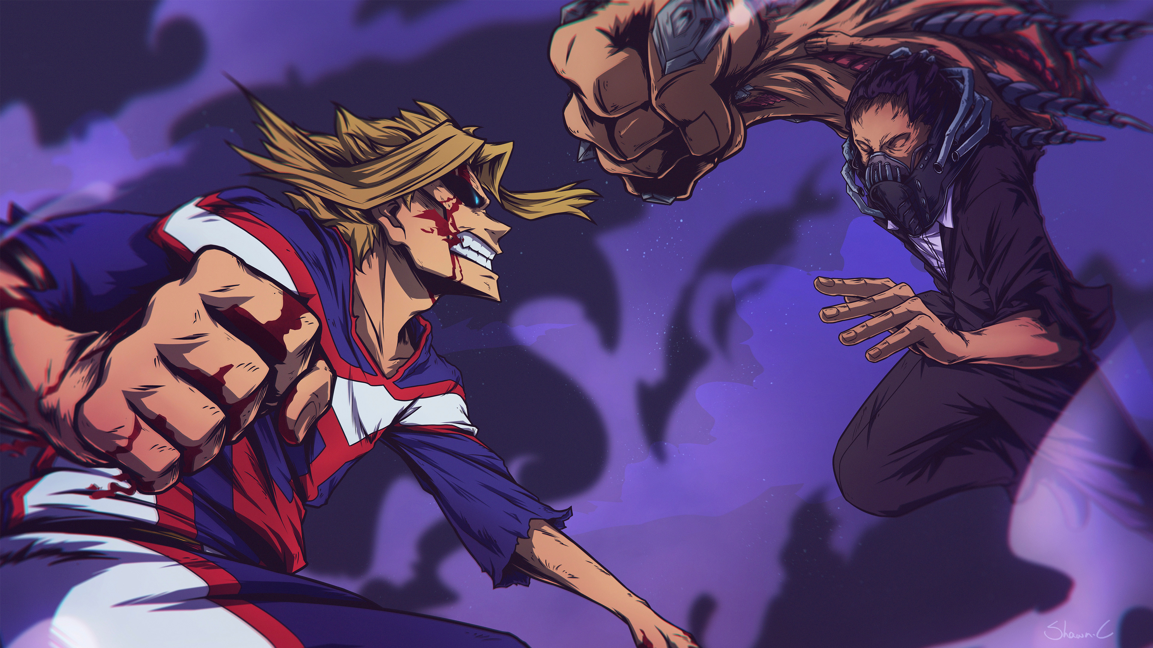 Artstation All Might Vs All For One Shawn Cauchi