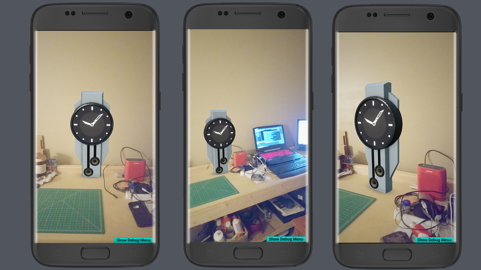 Mobile Augmented Reality Screenshots  Here I explored creating an augmented reality phone app in order to better understand how the product will look in the real world.