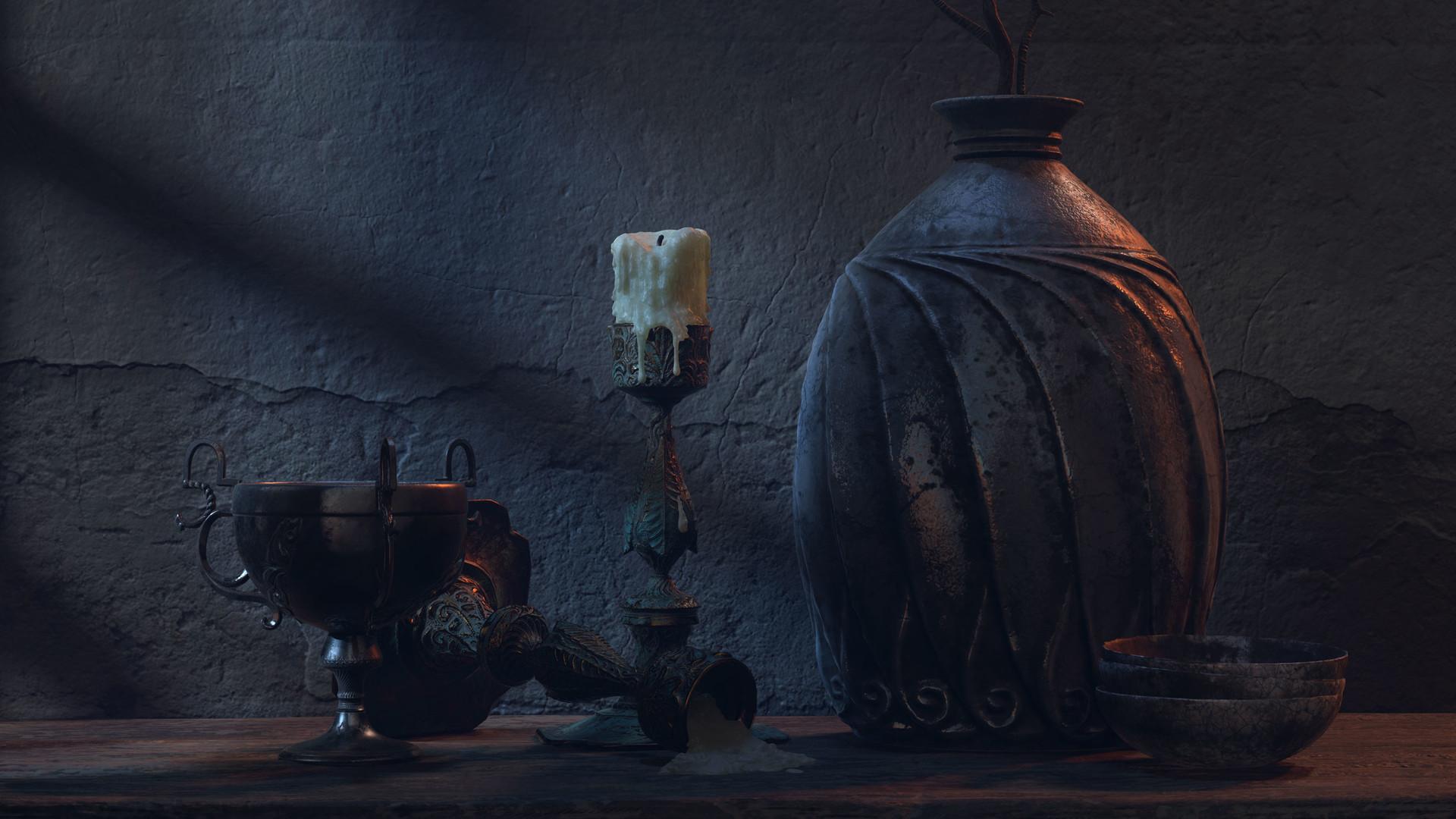 Pablo munoz gomez pottery scene dark blue