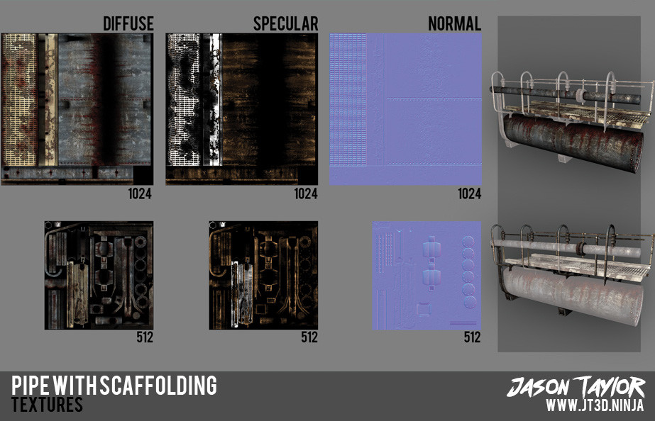 Modular pipe section material maps.