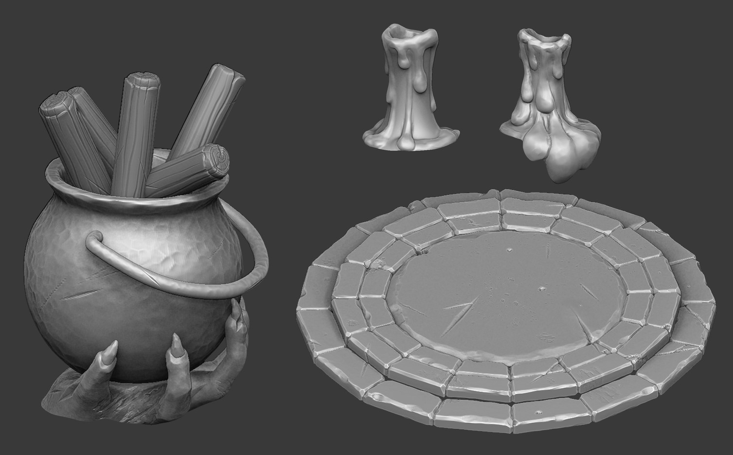 Zbrush sculpts of the props used to build the scene