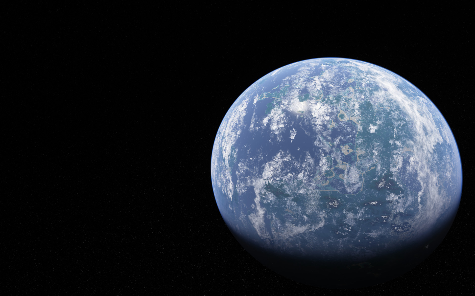 Earthlike exoplanet in gibbous phase