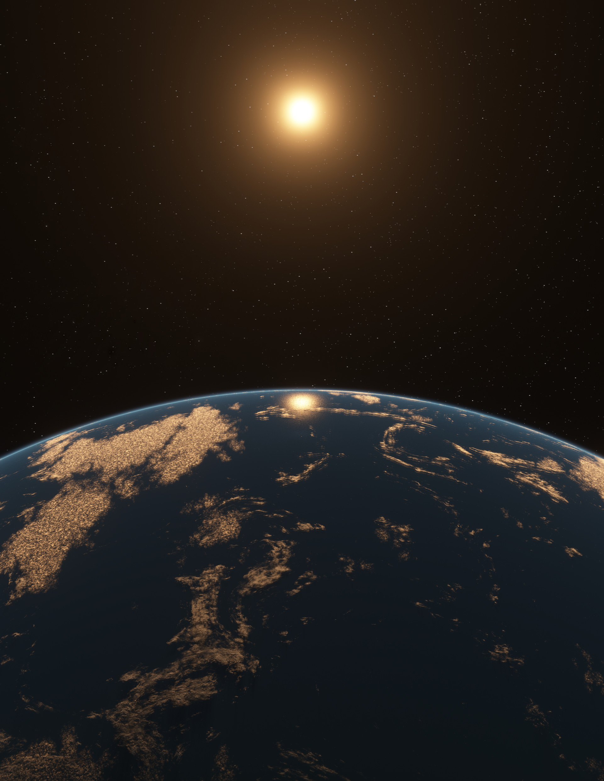 Ocean planet around an M-star. Final image chosen for cover.