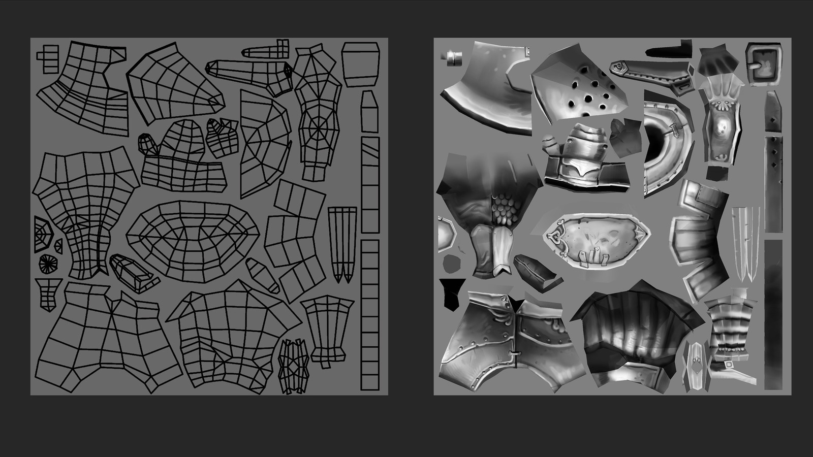 UV-layout and texture-map