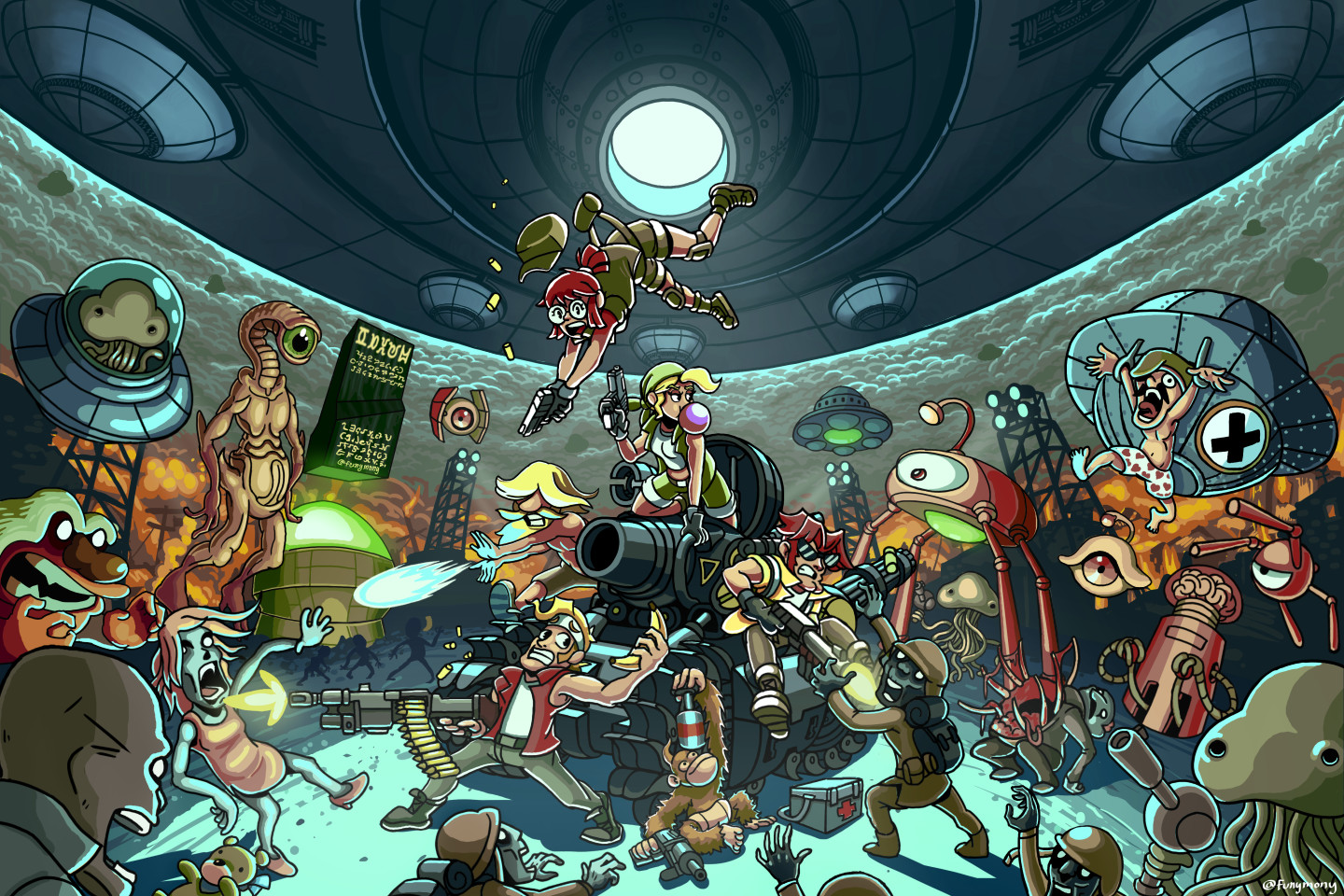I love all the details and sprites in my favorite game, Metal Slug 3. I wanted to find a cool wallpaper that captures the spirit of the series but I couldn't find one. So I made my own!