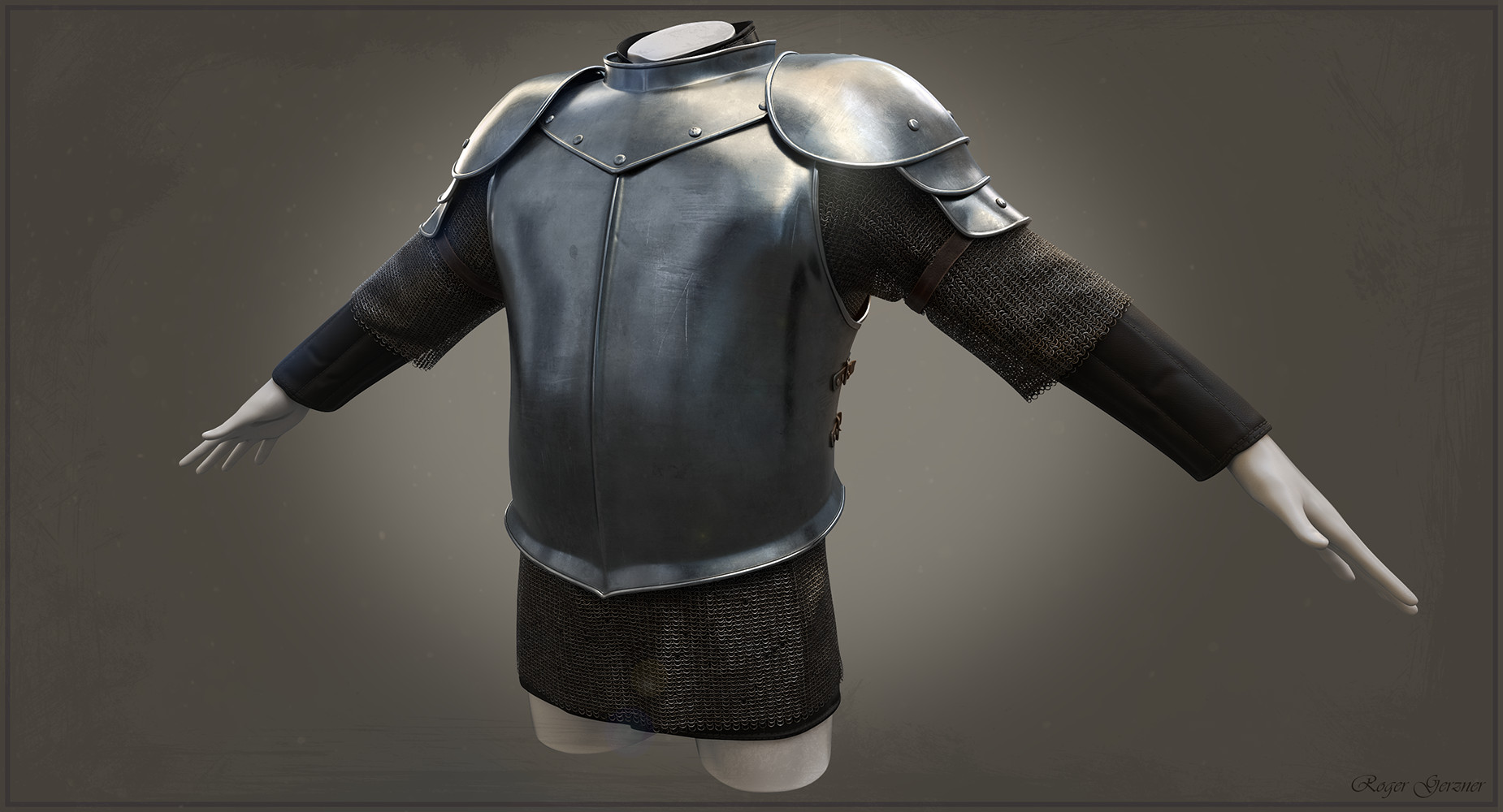 Half Plate Armour  with  Gambeson and Hauberken
